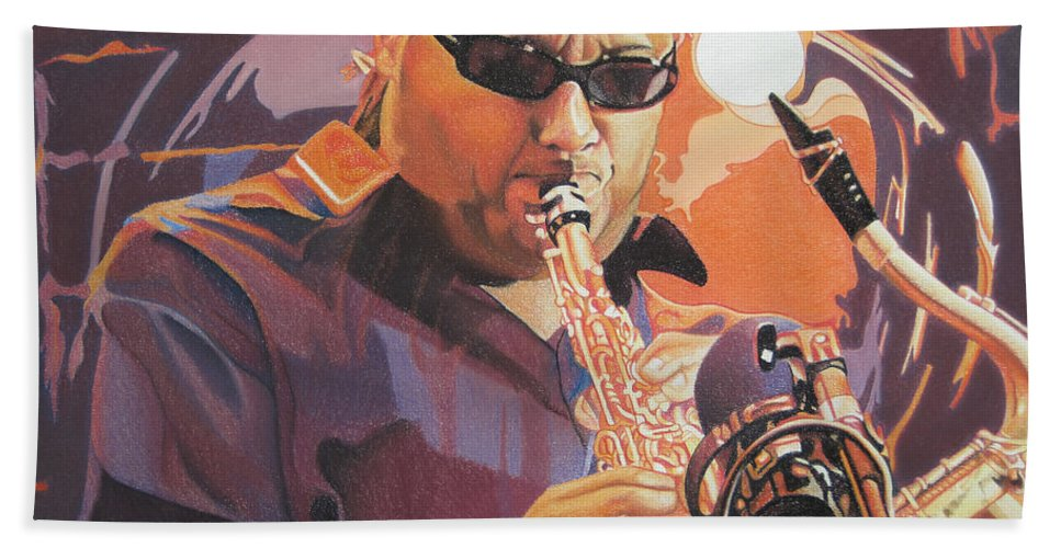 Leroi Moore Beach Towel featuring the drawing Leroi Moore Purple And Orange by Joshua Morton