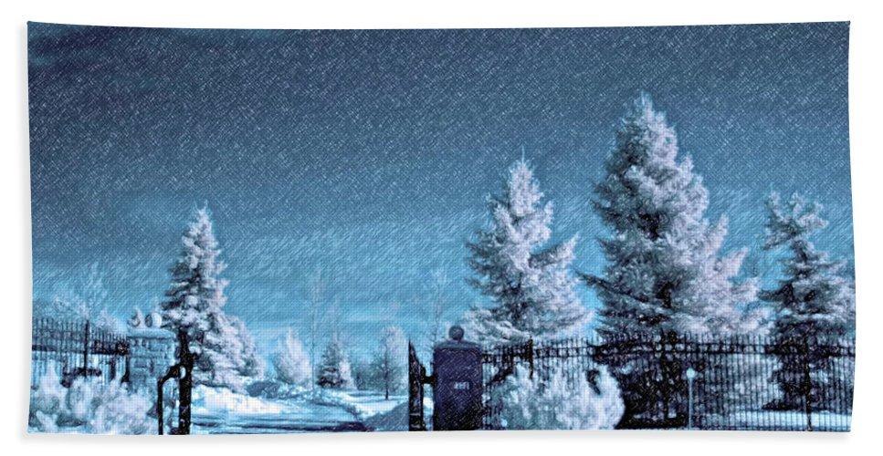 Snow Beach Towel featuring the photograph Let It Snow Blue Version by Steve Harrington