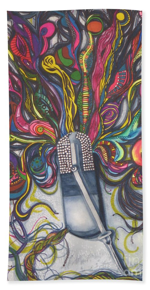 Fine Art Painting Beach Towel featuring the painting Let Your Music Flow In Harmony by Chrisann Ellis
