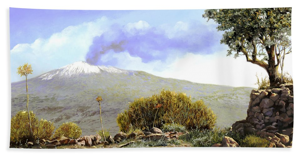 Volcano Beach Towel featuring the painting l'Etna by Guido Borelli