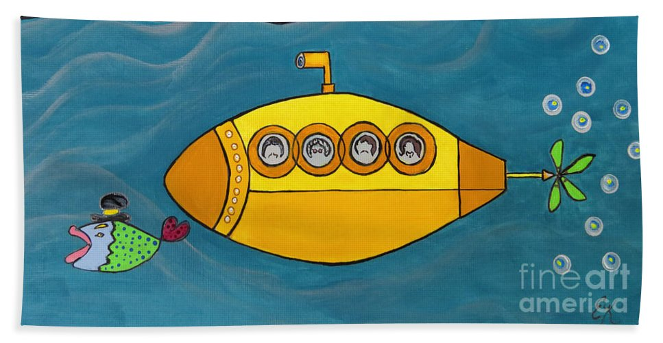 The Beatles Beach Towel featuring the painting Lets Sing The Chorus Now - the Beatles Yellow Submarine by Ella Kaye Dickey