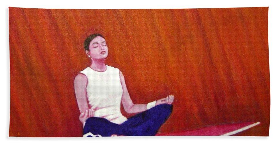 Levitation Beach Towel featuring the painting Levitation by Usha Shantharam