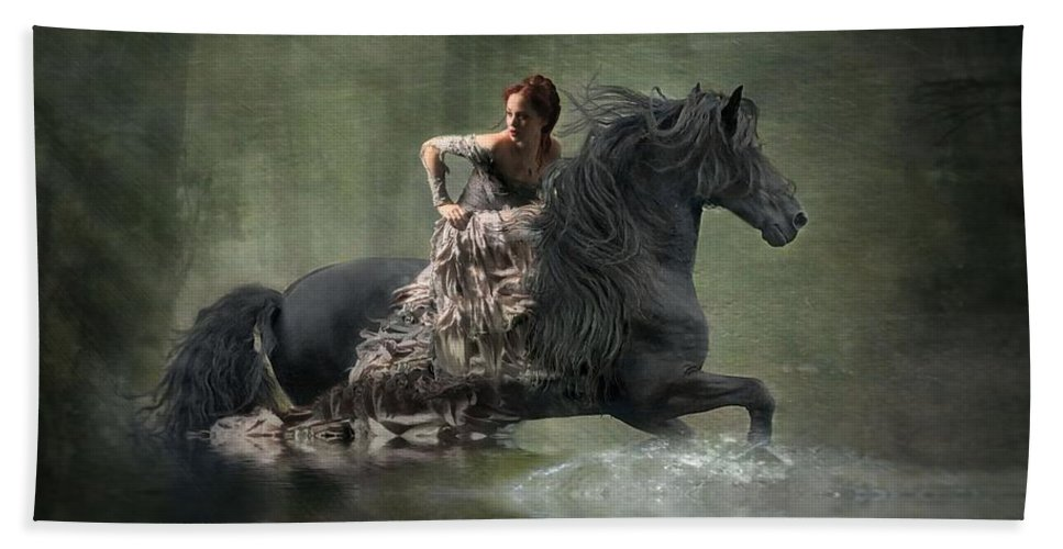 Girl Fleeing On Horse Beach Towel featuring the photograph Liberated by Fran J Scott