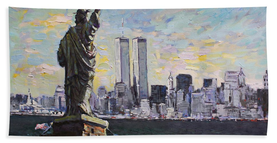 New York City Beach Towel featuring the painting Liberty by Ylli Haruni