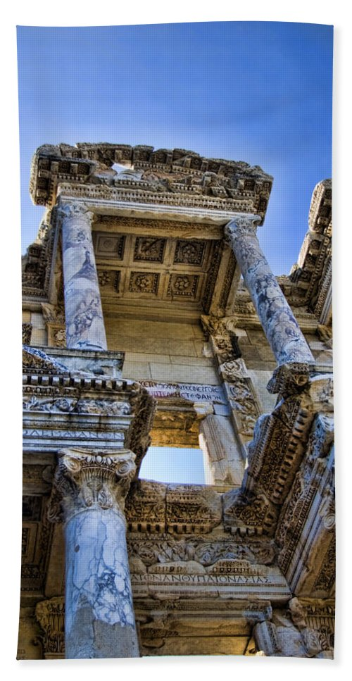 Ephesus Beach Towel featuring the photograph Library Of Celsus by David Smith