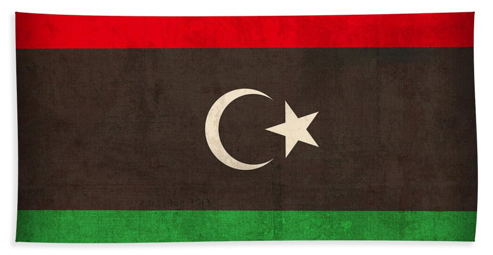Libya Beach Towel featuring the mixed media Libya Flag Vintage Distressed Finish by Design Turnpike