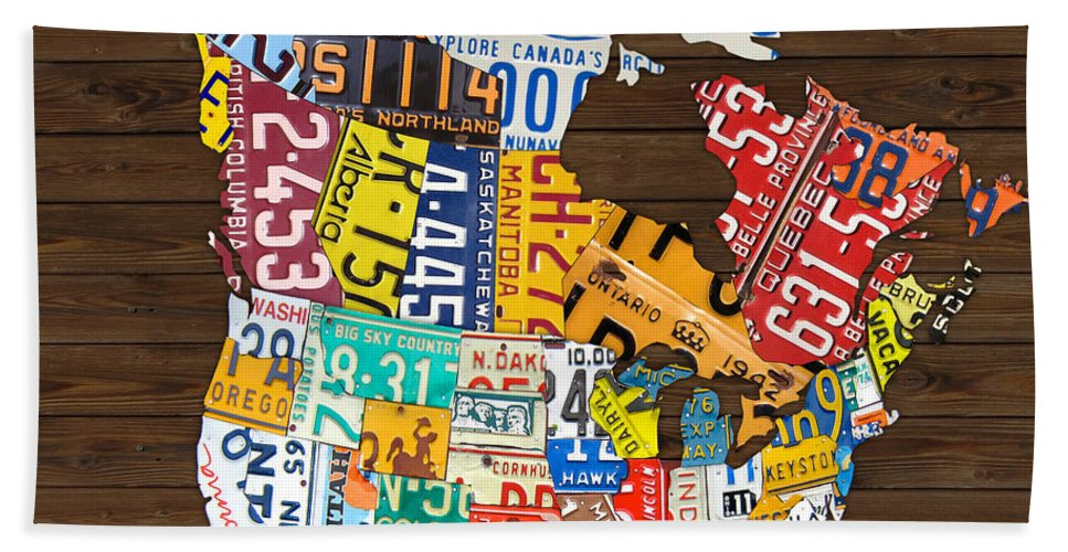 License Plate Map Of North America - Canada And United States Beach ...