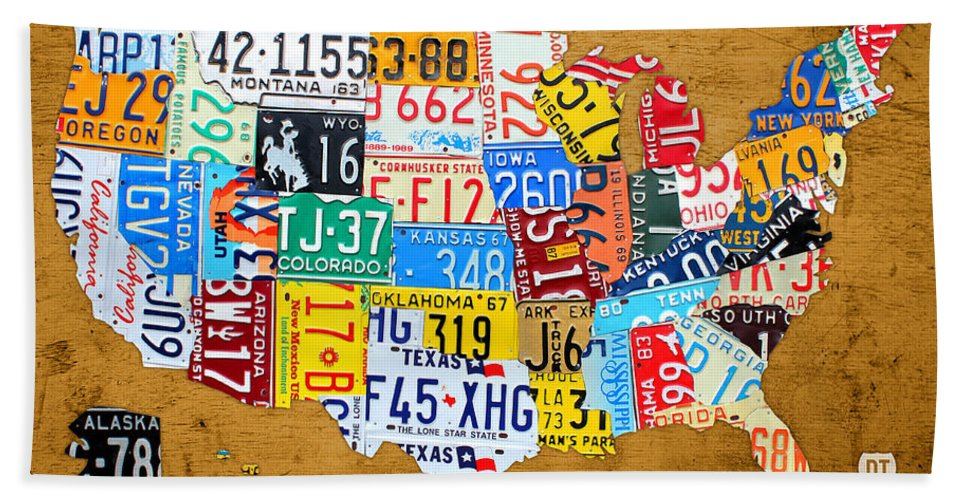 License Plate Map Of The United States On Burnt Orange Slab Beach ...