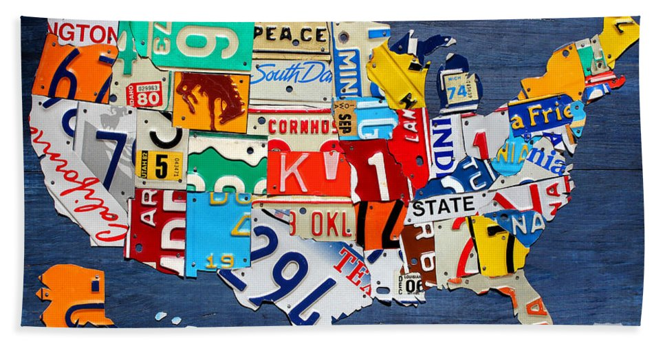License Plate Map Of The United States - Small On Blue Beach Sheet ...