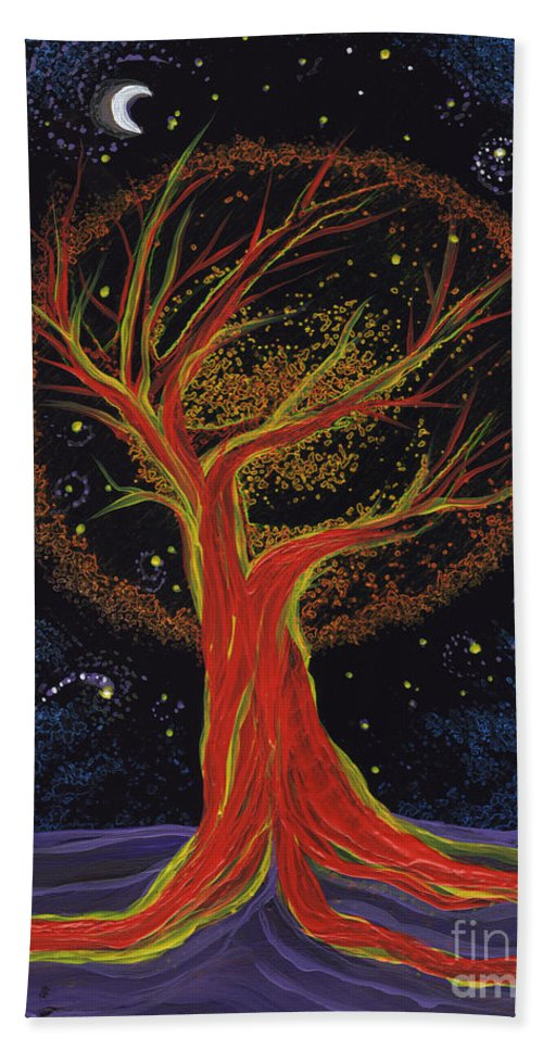 First Star Beach Towel featuring the painting Life Blood Tree By Jrr by First Star Art
