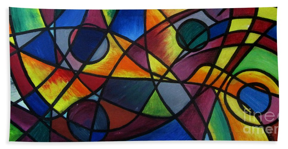 Beach Towel featuring the painting Life Colors by Bassim Ayad