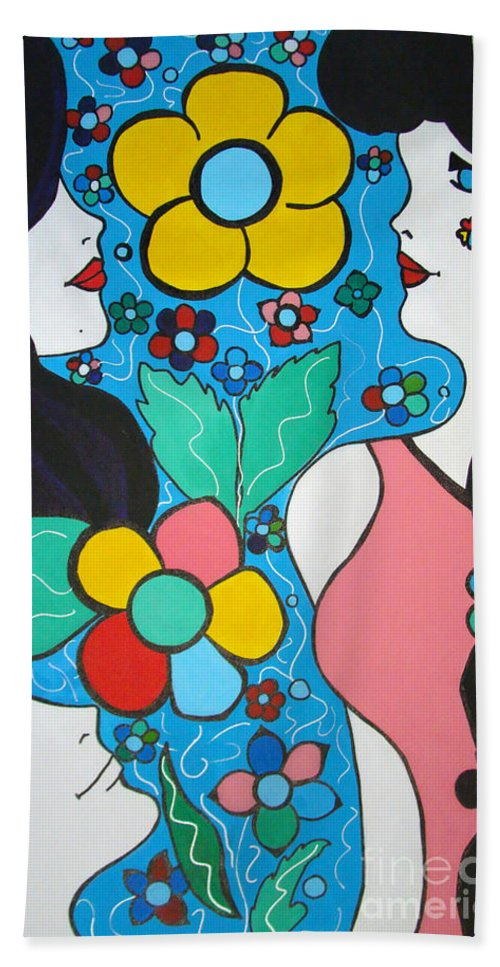 Pop-art Beach Towel featuring the painting Life is Beautiful by Silvana Abel
