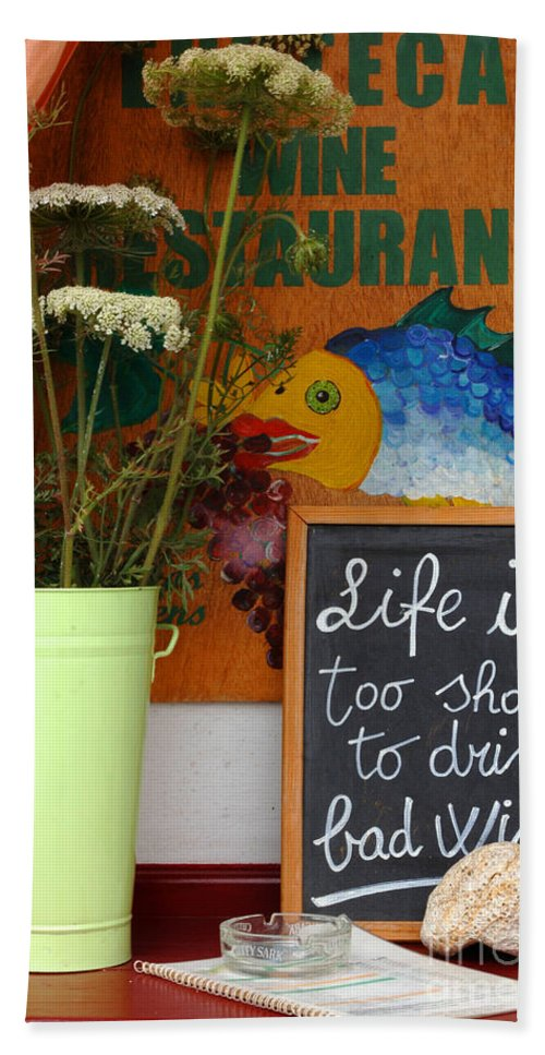 Greece Beach Towel featuring the photograph Life Is Too Short by Bob Christopher