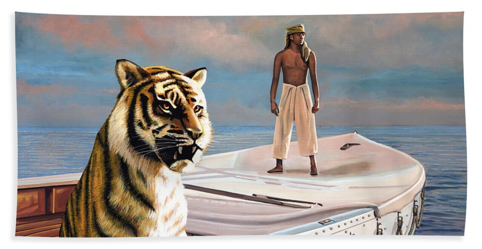 Life Of Pi Beach Towel featuring the painting Life Of Pi by Paul Meijering