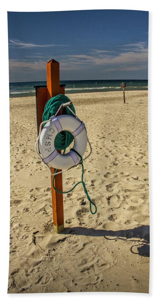 Art Beach Towel featuring the photograph Life Preserver On The Beach In Pentwater Michigan by Randall Nyhof