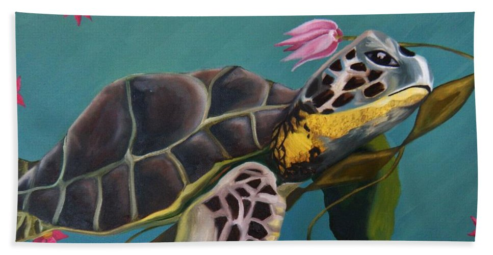 Sea Turtle Beach Towel featuring the painting Life Under The Sea by Victoria Dietz
