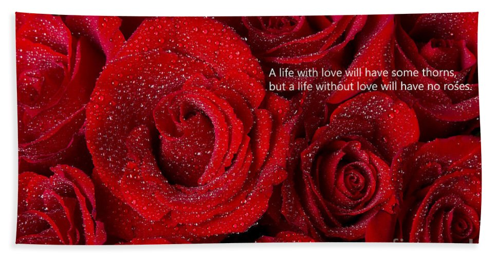 Valentines Beach Towel featuring the photograph Life Without Love Will Have No Roses by James BO Insogna