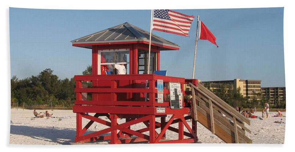 Beach Beach Towel featuring the photograph Lifeguard Siesta Beach by Christiane Schulze Art And Photography