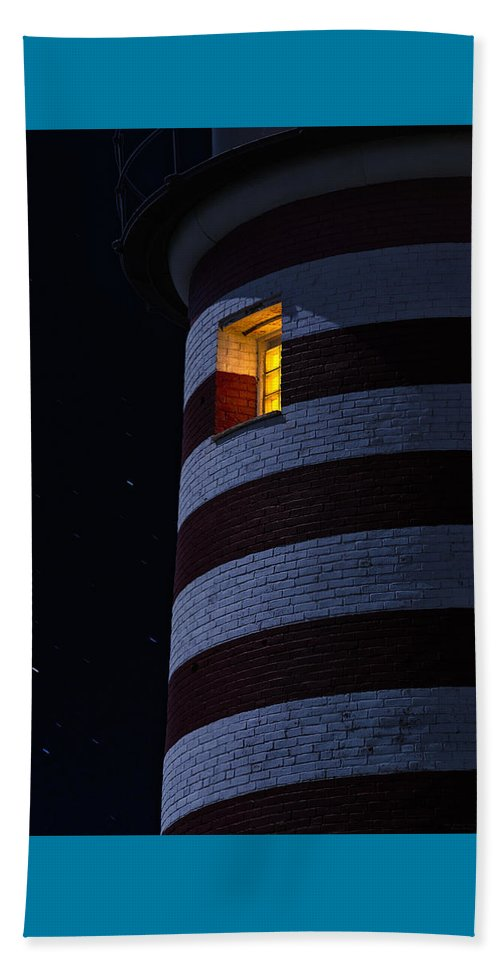 Lighthouse Beach Towel featuring the photograph Light From Within by Marty Saccone