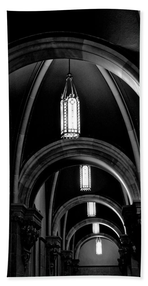 #arch Beach Towel featuring the photograph Light In The Basilica by Debbie Nobile
