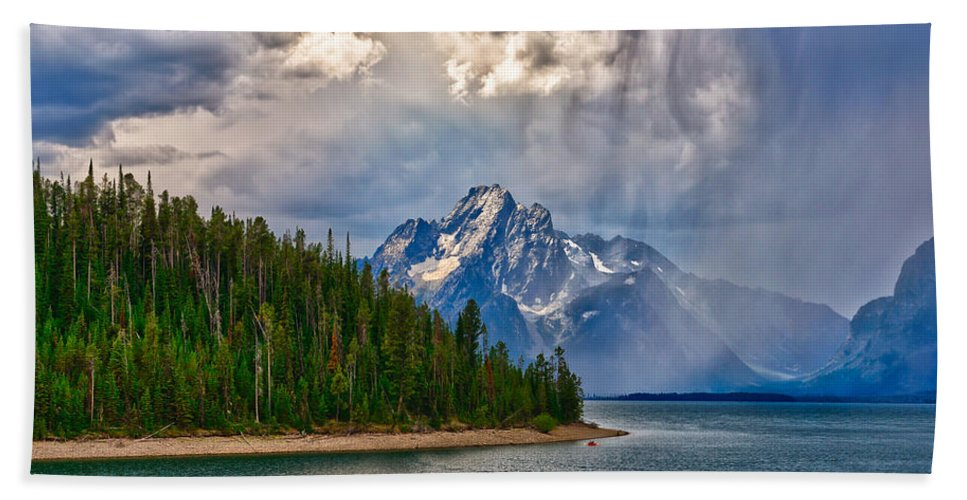 Grand Teton National Park Beach Towel featuring the photograph Light On Moran by Greg Norrell