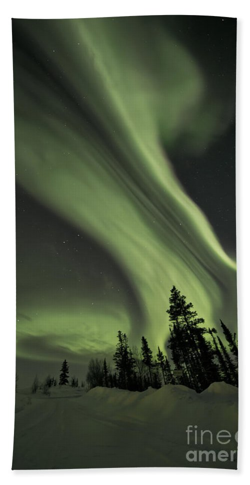 Aurora Borealis Beach Towel featuring the photograph Light Swirls Over The Midnight Dome by Priska Wettstein