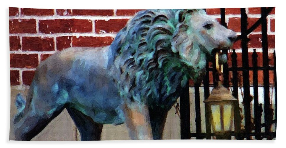 Lion Beach Towel featuring the painting Lightbearer by RC DeWinter