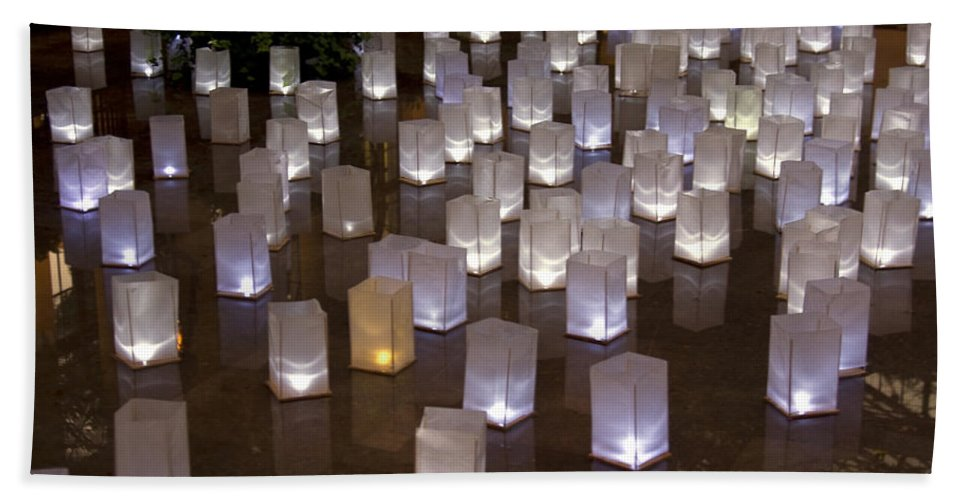 Lights Beach Towel featuring the photograph Lighted Lantern Bags by Sally Weigand