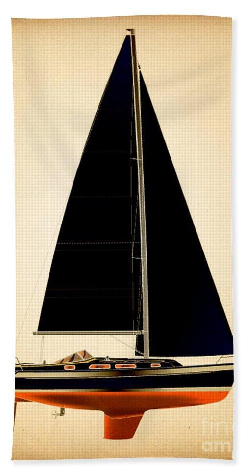 Regina Gallant Beach Towel featuring the drawing Lightening Sails by Regina Marie Gallant