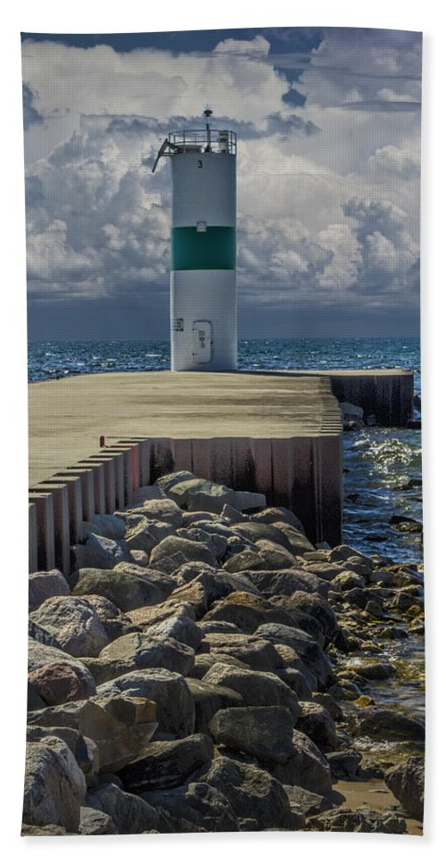 Art Beach Towel featuring the photograph Lighthead At The End Of The Pier In Pentwater Michigan by Randall Nyhof