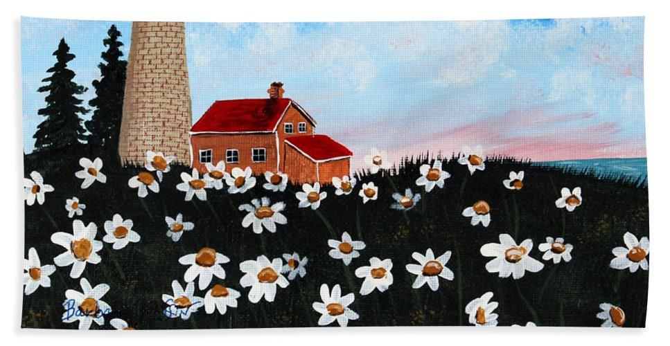 Lighthouse Beach Towel featuring the painting Lighthouse And Daisies by Barbara Griffin
