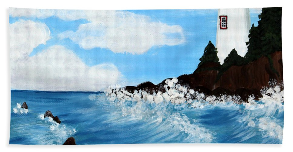 Barbara Griffin Beach Towel featuring the painting Lighthouse And Sunkers by Barbara Griffin