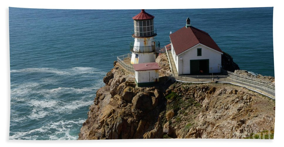 Peace Beach Towel featuring the photograph Lighthouse At Point Reyes by Bob Christopher