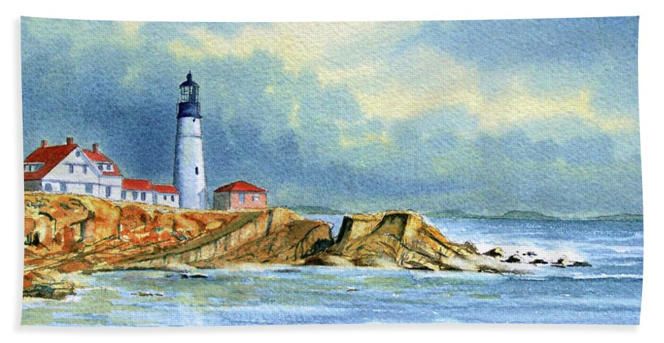 Lighthouse Beach Towel featuring the painting Lighthouse At Portland Head Maine by Bill Holkham