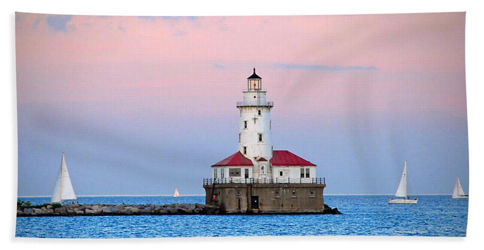 Chicago Beach Towel featuring the photograph Lighthouse At The Navy Pier by Lynn Bauer