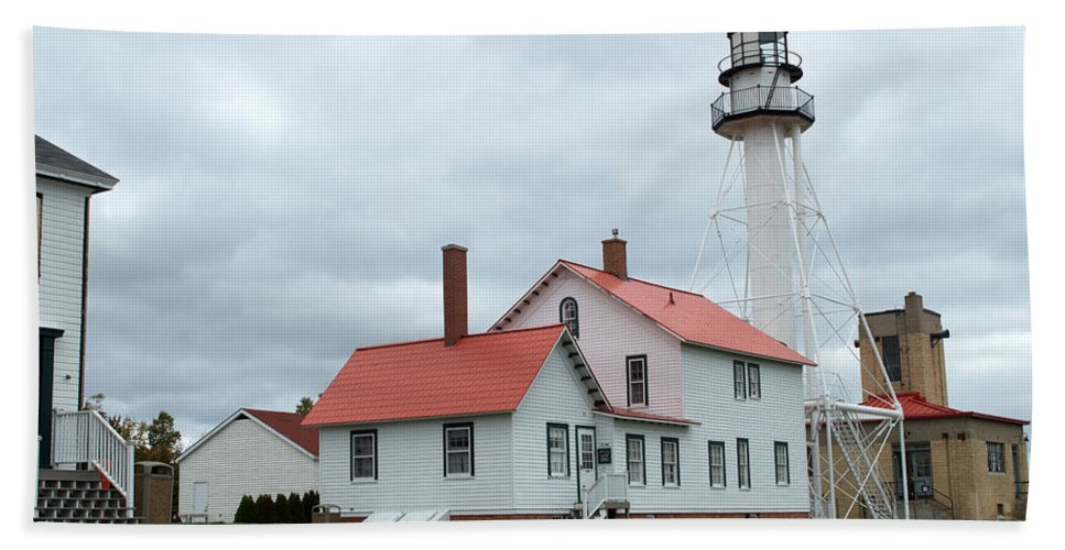 Whitefish Point Beach Towel featuring the photograph Lighthouse At Whitefish by Linda Kerkau