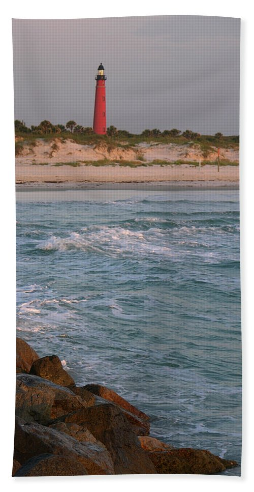 Photographs Of Ponce Inlet Lighthouse Beach Towel featuring the photograph Lighthouse From The Jetty 2 by Julianne Felton