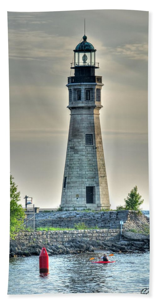 Lighthouse Beach Towel featuring the photograph Lighthouse Just Before Sunset At Erie Basin Marina by Michael Frank Jr