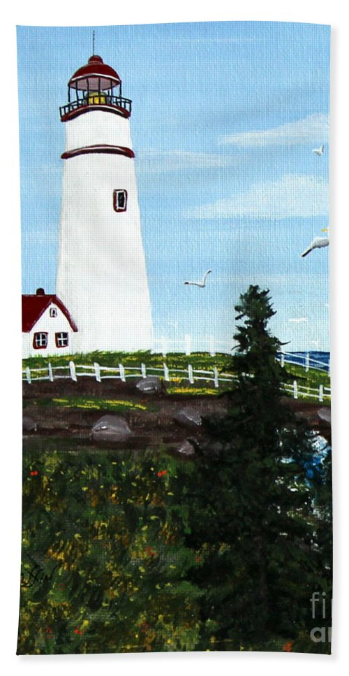 Lighthouse Point Beach Towel featuring the painting Lighthouse Point by Barbara Griffin