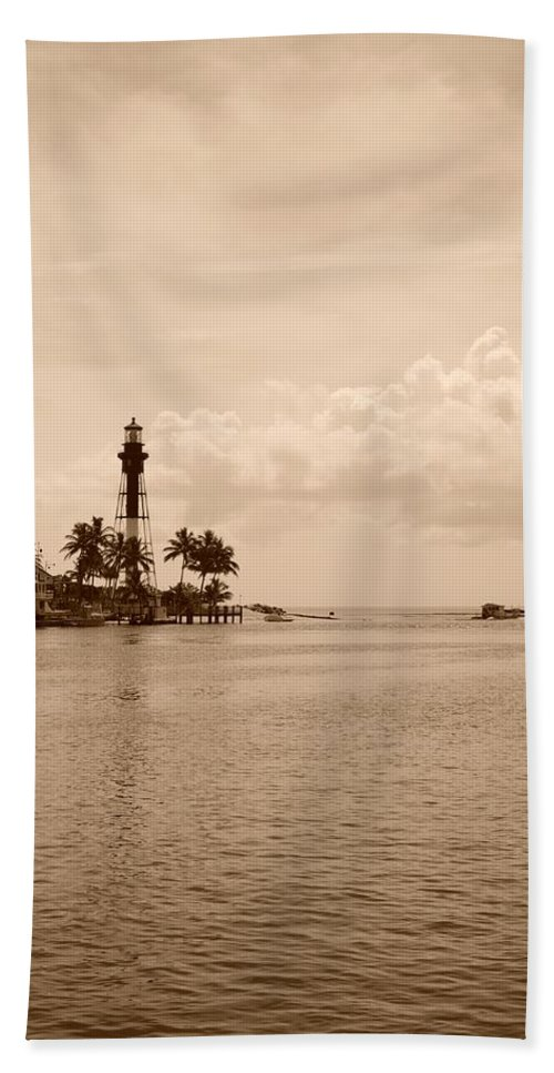 Sepia Beach Towel featuring the photograph Lighthouse Point by Rob Hans