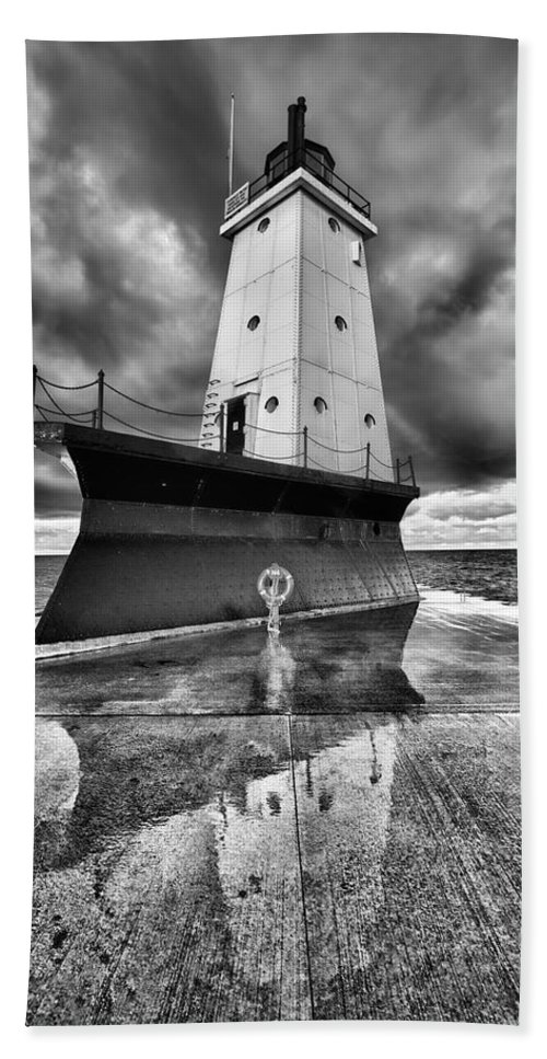 Clouds Beach Towel featuring the photograph Lighthouse Reflection Black And White by Sebastian Musial