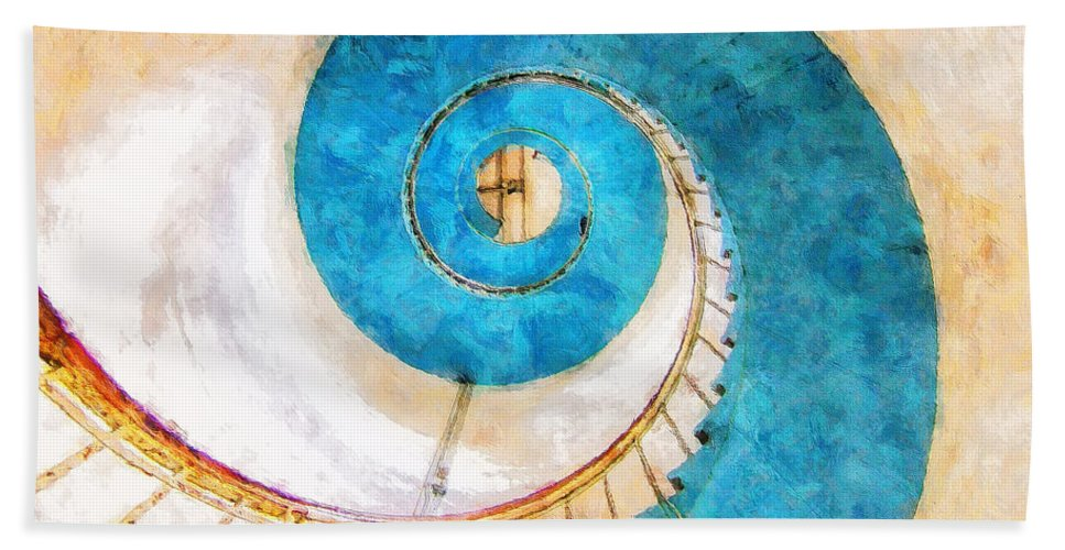 Lighthouse Beach Towel featuring the painting Lighthouse Staircase by Sandy MacGowan