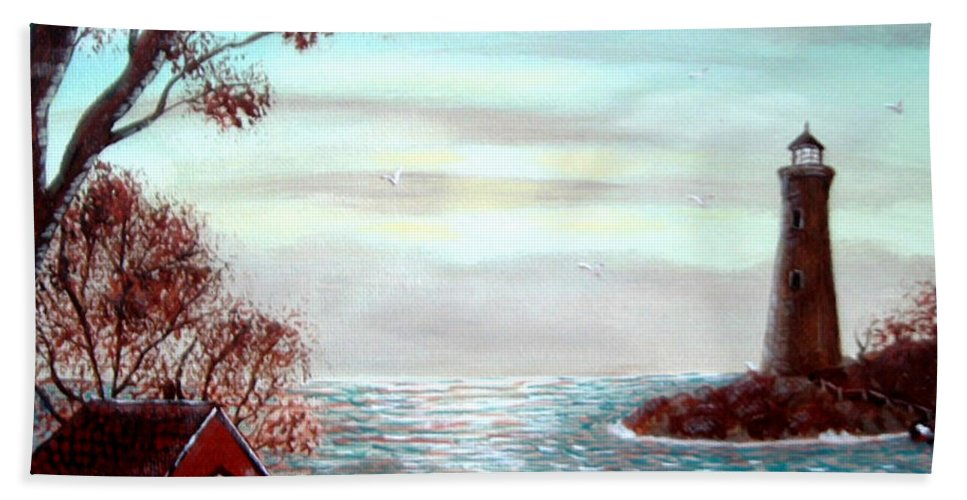 Lighthouse Keeper Beach Towel featuring the painting Lighthousekeepers Home by Barbara Griffin