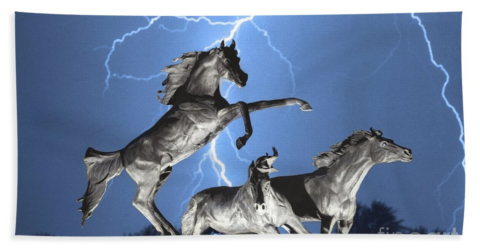 Beach Towel featuring the photograph Lightning At Horse World Bw Color Print by James BO Insogna