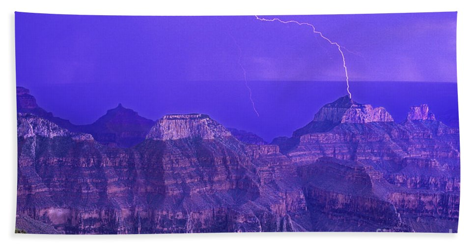 North America Beach Towel featuring the photograph Lightning Storm North Rim Grand Canyon National Park Arizona by Dave Welling