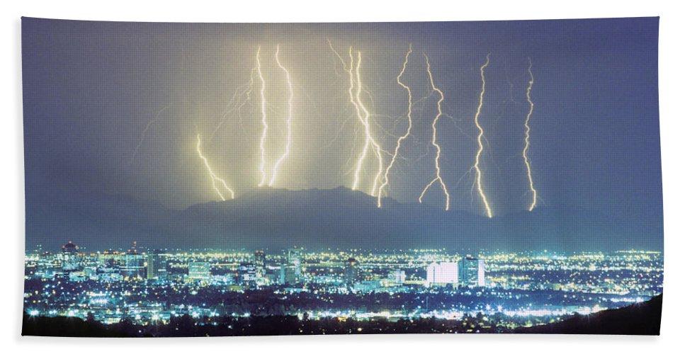 Lightning Beach Towel featuring the photograph Lightning Striking Over Phoenix Arizona by James BO Insogna
