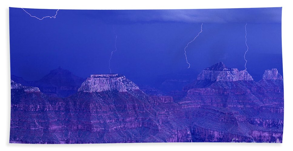 North America Beach Towel featuring the photograph Lightning Strkes At The North Rim Grand Canyon National Park by Dave Welling