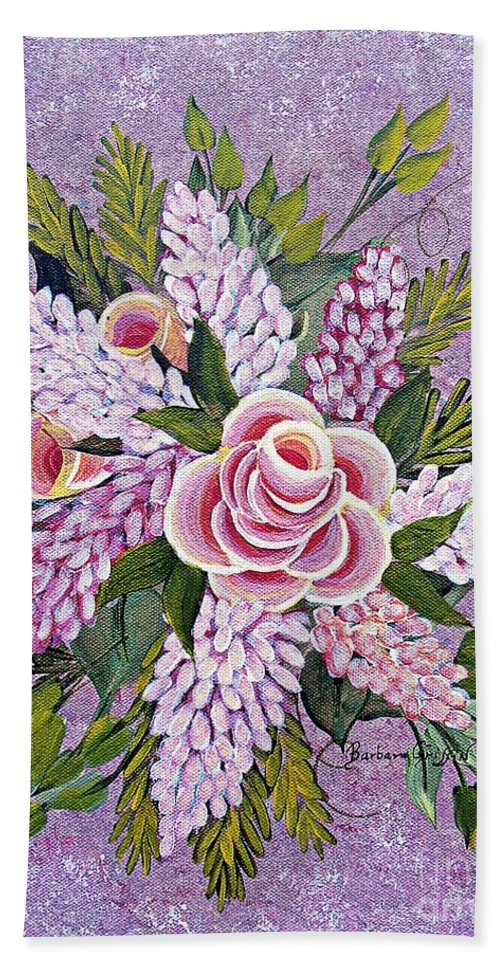 Barbara Griffin Beach Towel featuring the painting Lilac And Rose Bouquet by Barbara Griffin