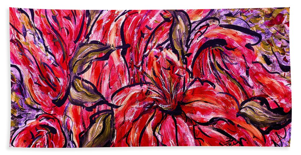 Lilium Connecticut Glow Bulbs Lily Flowers Gardens Floral Expressionism Impressionism Artwork Creation Brush Strokes Acrylic Colorful Red Lilies Purple Lilies Trumpet Cupped Turk's Cap Summer Soil Botanical Plants Garden Soil Beautiful Stems Strong Long Leaves Bees Visual Artistic Vibrant Artist Creation Planting Gorgeous Drooping Flowers Nature Red Purple Green Orange Yellow Natalie Holland Beach Towel featuring the painting Lily Glow by Natalie Holland