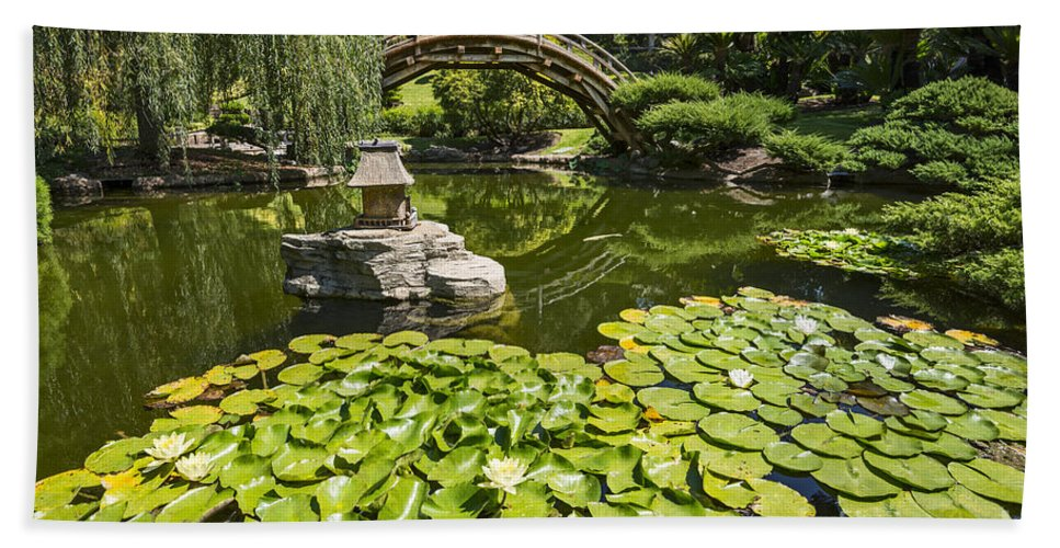 Japanese Garden Beach Towel featuring the photograph Lily Pad Garden - Japanese Garden At The Huntington Library. by Jamie Pham